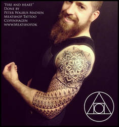 Fire and Heart polynesian inspired tattoo by Meatshop-Tattoo