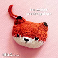 kawaii red fox wristlet crochet pattern by hellohappycrafts