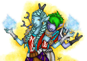 World of Warcraft- Naevla and Aishlinn by DandeiraArt
