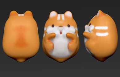 Zbrush 3D Sculpt - IBloom Squishy Pom Pom Hamster by xxSnowCherryxx