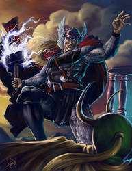 Thor against Loki by cosimoferri