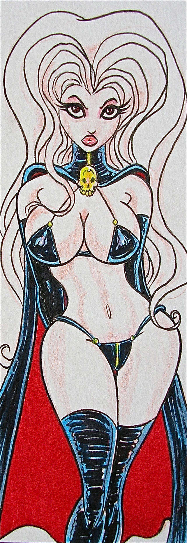 LADY DEATH DOUBLE LENGHT SKETCH CARD by siriguana