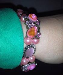 Pink crystal and cabochon slide bracelet by BlackUnicornWood