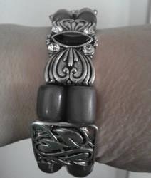 Shades of gray slide bracelet by BlackUnicornWood