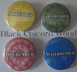 Element Bender button set by BlackUnicornWood