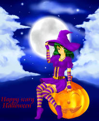 Pumpkin Witch under the full moon by aciampal