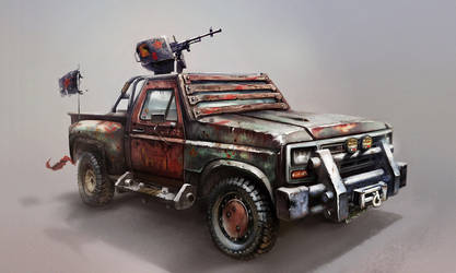 Improvised assault vehicle Concept Art by red--fox