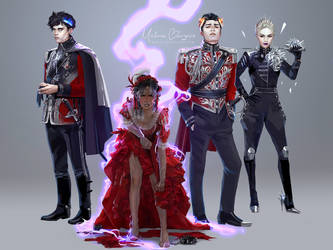 red queen character lineup by Freiheit