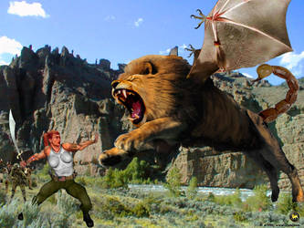 Connie Fights the Manticore by Paudraic