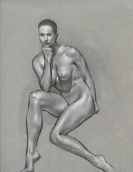 seated nude study by Estranged74