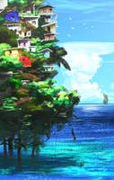 Isla en Pilotes by ArtbyGloriaColom