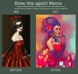 Draw it Again - Lady in Red by ArtbyGloriaColom
