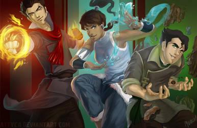 Korra, Mako and Bolin! by Attyca