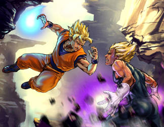 Goku VS Vegeta battle by CangDu