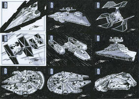 Star Wars Vehicle Ships-Millennium Falcon by SteveStanleyArt
