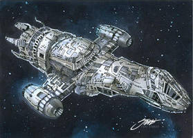 Firefly : Serenity spaceship by SteveStanleyArt