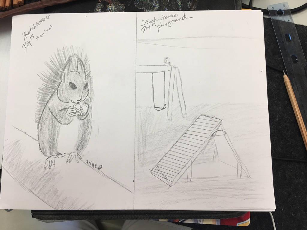 Sketchtember day18-19 squirrel and playground  by CraneRelmaraVaerun
