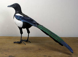 Handmade clay, paper and wire Magpie sculpture by ZackMclaughlin