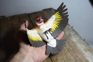 Handmade paper and wood Goldfinch by ZackMclaughlin