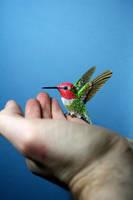 Handmade paper and wood Anna's hummingbird by ZackMclaughlin