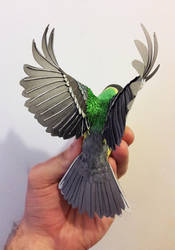 Paper and wood Great tit sculpture by ZackMclaughlin