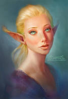 Blonde Elfgirl Portrait by Maximko