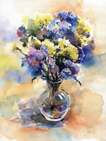 Blue and yellow flowers by OlgaSternik