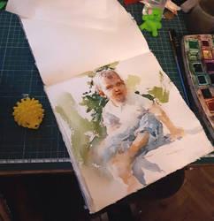 Work on portrait of my kid by OlgaSternik