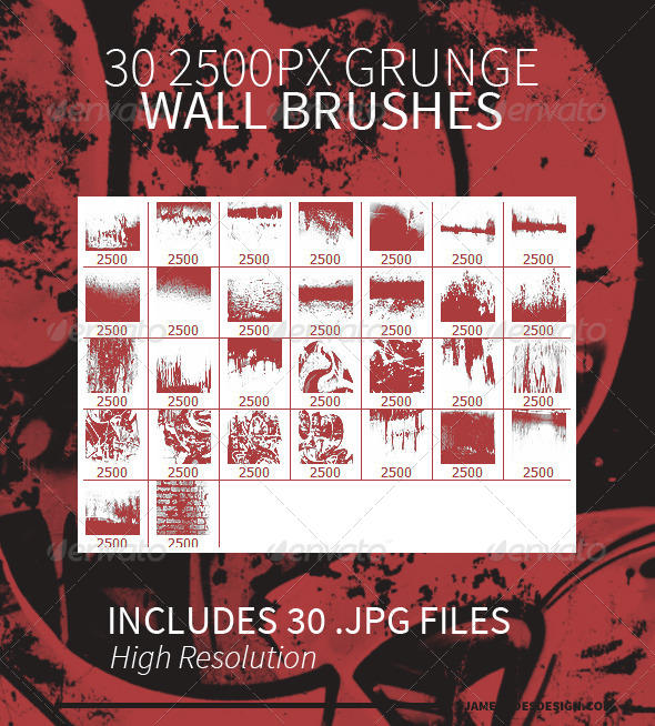 30 Grunge Wall Photoshop Brushes by JamesRuthless