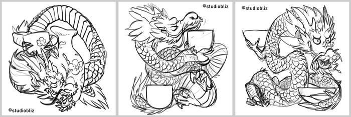 Sake Dragon concepts by syrusbLiz