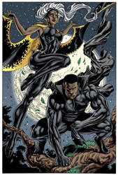 Black Panther and Storm by RenanLino