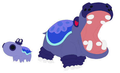 Water Type Hippopotas Line by JanethePegasus