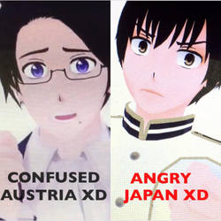Confused Austria and Angry Japan XDDD by Myindiansummer