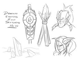 Draenei Starting Zone Sketches 2 by Obhan