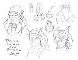 Draenei Starting Zone Sketches 4 by Obhan