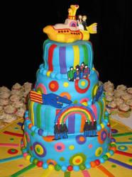 Beatles Yellow Submarine cake by estranged-illusions