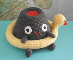 Vlad the volcano amigurumi and his duck lifebuoy by AnneKo