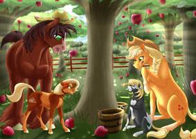 Apple Bucking Mishaps (Updated) by BijutsuYoukai
