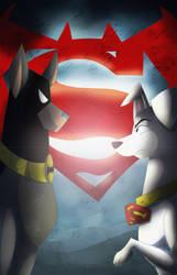 Fanart: Ace the Bathound v Krypto the Superdog by texacity