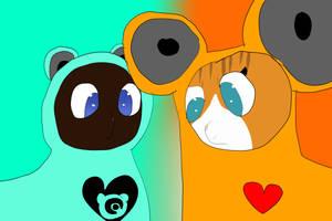 Loudbelly and Dawnbright as Otobear and Stereo by IloveTamagotchi2702