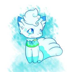 Snowly the Vulpix (Art trade) by Alyx-SKat