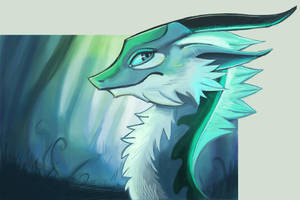 Glowy Blue Forest Dragon Head Thing by Pseudolonewolf