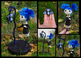 Lepista and Corprinus the bat. Gothic Art Doll by Lauramei