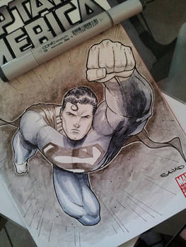 SuperMan Sketch Cover with Copic Markers by Sajad126