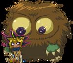 Little Kuriboh LOVES his Chibi Atemu by Danni-Stone