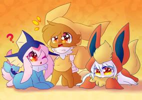 Vappy,Jolty and Flarey! (Gift Art) by LittleMoon-Chan