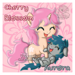 [Commission] Chibi Cherry Blossom and Aurora by Veemonsito