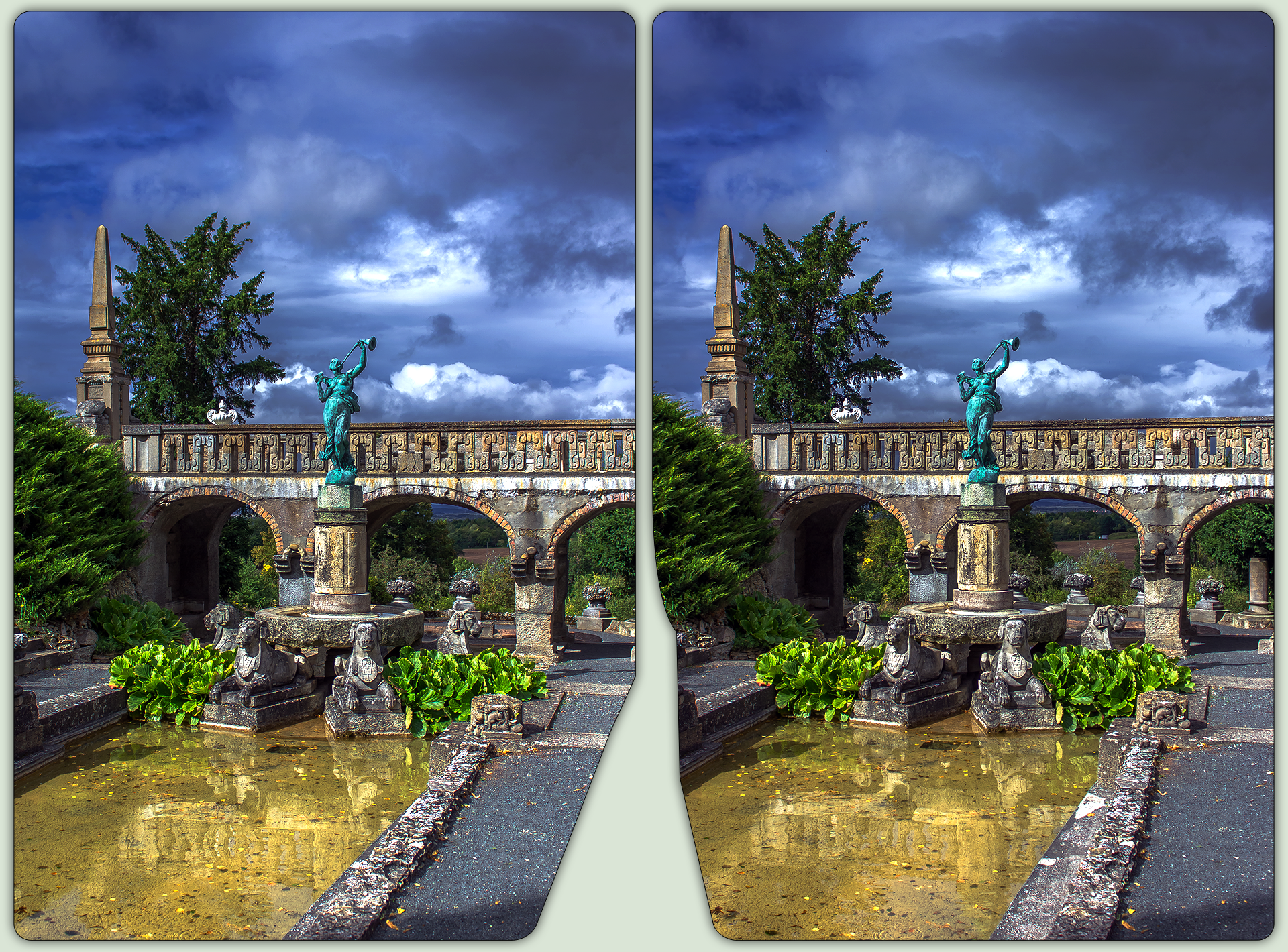 Romantic castle park 3-D / CrossEye / Stereoscopy by zour