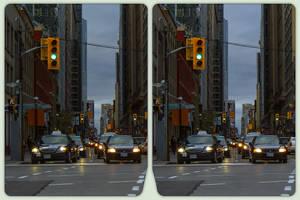 Toronto traffic 3-D / CrossEye / Stereoscopy by zour