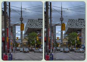 CNTower towering Toronto 3-D / Stereoscopy / Cross by zour